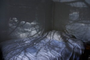 An untitled camera obscura image by Eleanor Anaclerio, on display in the Senior Thesis Exhibition.