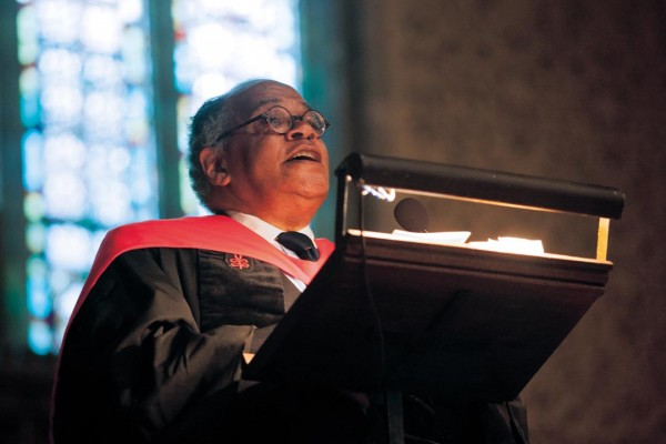 Gomes preaches at the 2010 Alumni Memorial Service in the Chapel. In 2012, Bates named the Chapel in his memory. Photograph by Phyllis Graber Jensen/Bates College.