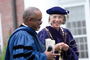 Elaine Hansen laughs with Marcus Bruce '77, the Benjamin Mays Professor of Religious Studies, prior to Convocation 2010. Photograph by Phyllis Graber Jensen/Bates College.