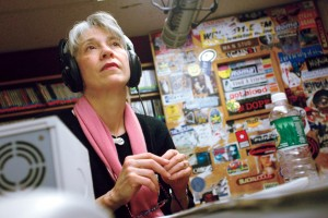 Hansen sits for a WRBC student interview shortly after her arrival in February 2003. Photograph by Phyllis Graber Jensen/Bates College.