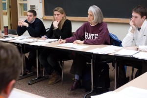 Hansen takes part in an economics class in 2008, part of her annual President for a Day tradition in which she and a student traded places for one day. Photograph by Phyllis Graber Jensen/Bates College.