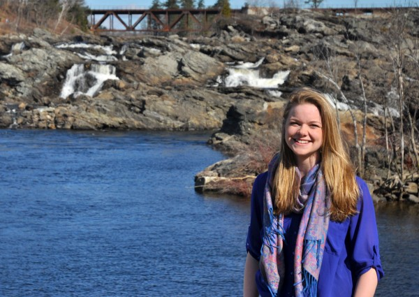 For her senior thesis in environmental studies, Taryn O'Connell '13 investigated a debate about Androscoggin River pollution that took place in Lewiston in the 1950s. Photograph by Hank Schless '13.