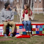 Yarn bomb is a different kind of benchwarmer