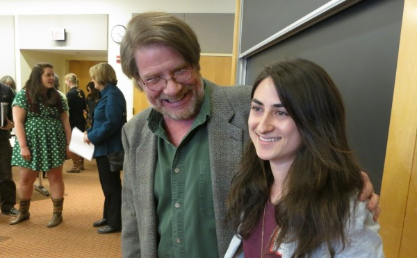 Senior Lecturer in English Robert Farnsworth congratulates Ashley Lepre '13 after the annual creative writing thesis reading at Mount David Summit on March 29, 2013. Photographs by Jay Burns.