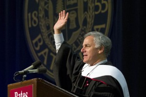 Stonyfield Farm Chairman Gary Hirshberg is shown during his Commencement speech. Photograph by Phyllis Graber Jensen/Bates College.