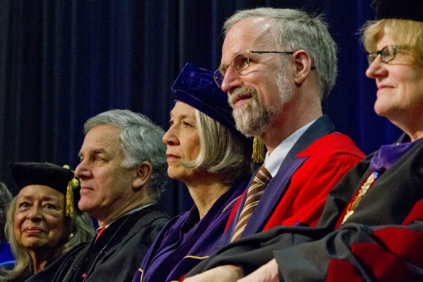 The 2013 honorands with President Spencer. From left, Vivian Pinn, Gary Hirshberg, Elaine Hansen, William Cronon and Spencer. Photograph by Phyllis Graber Jensen/Bates College.