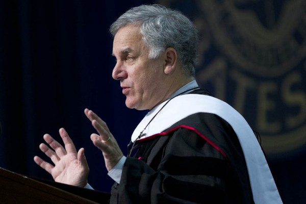 "Commencement speaker Gary Hirshberg told the graduates that ""challenging the conventional wisdom can be scary. But everything that's ever been important has happened because someone asked the powerful two words: Why not?"" Photograph by Phyllis Graber Jensen."