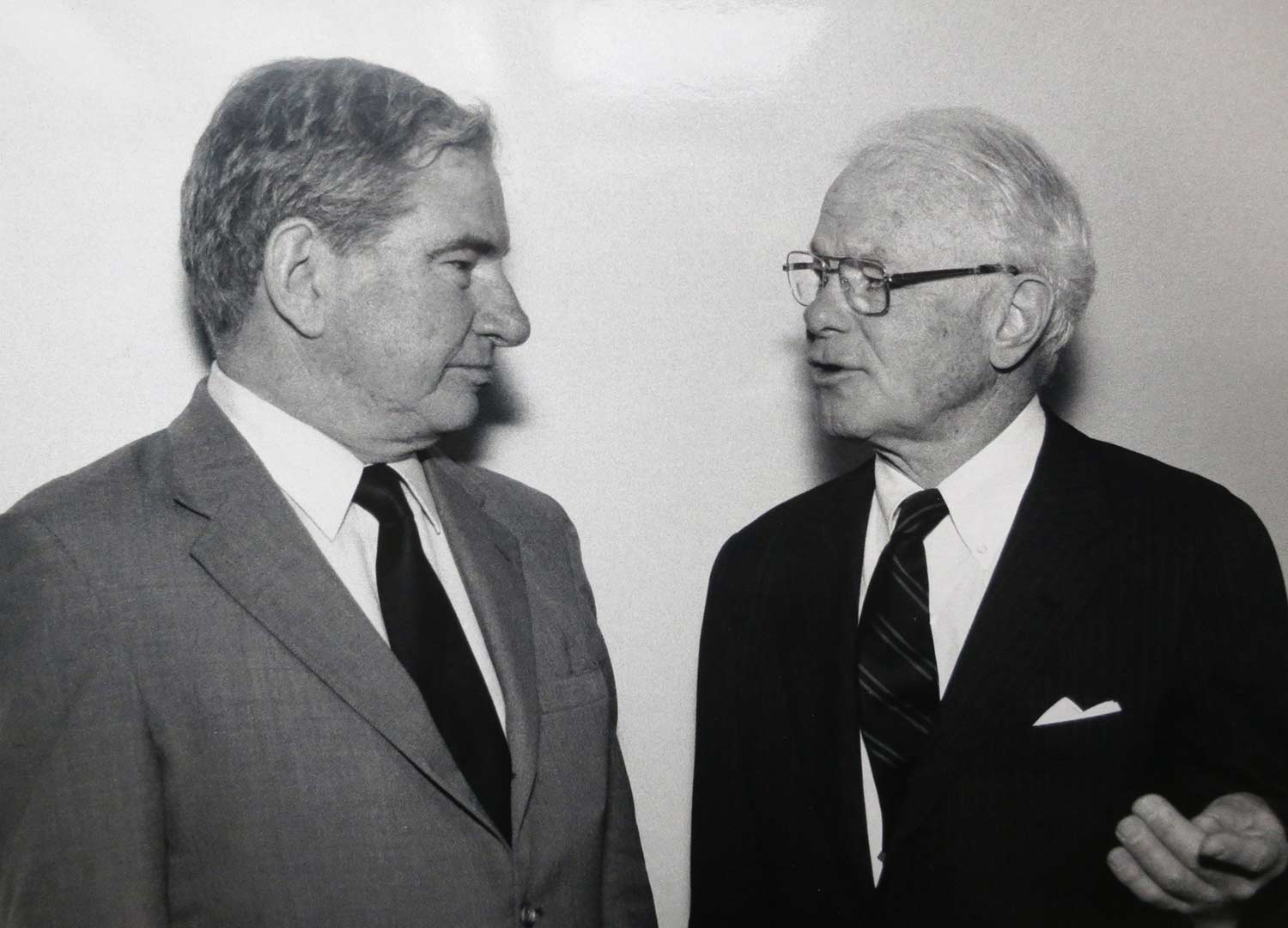 Kinney here is pictured with then-President Hedley Reynolds, c. 1980. Kinney's national connections to philanthropic organizations played a key part in Bates securing funding for the Olin Arts Center. Photograph by Frank Siteman.