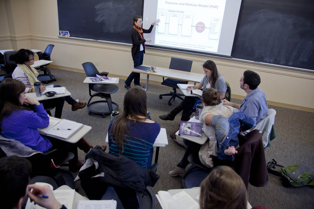 "Assistant Professor of Environmental Studies Sonja Pieck teaches her course ""Environmental Justice in the Americas"" in Hedge 206. (Phyllis Graber Jensen/Bates College)"