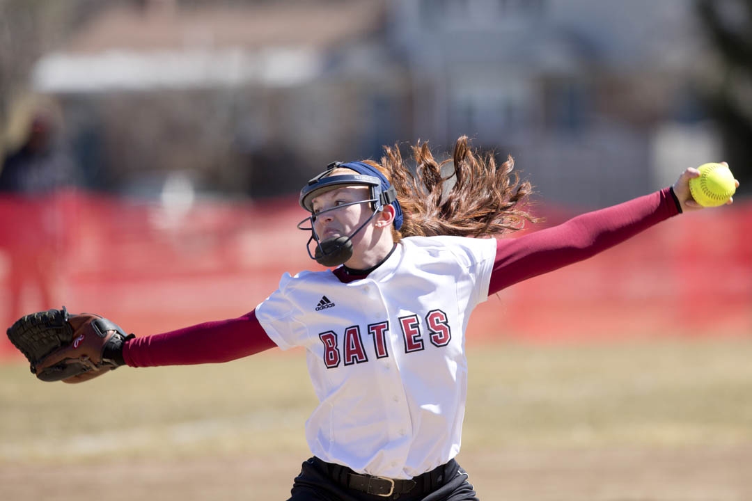 Sophomore lefthander Brenna Callahan pitched a five-inning, complete-game shutout against Fisher College, also racking up eight strikeouts while limiting Fisher to three hits and three walks. (Phyllis Graber Jensen/Bates College)