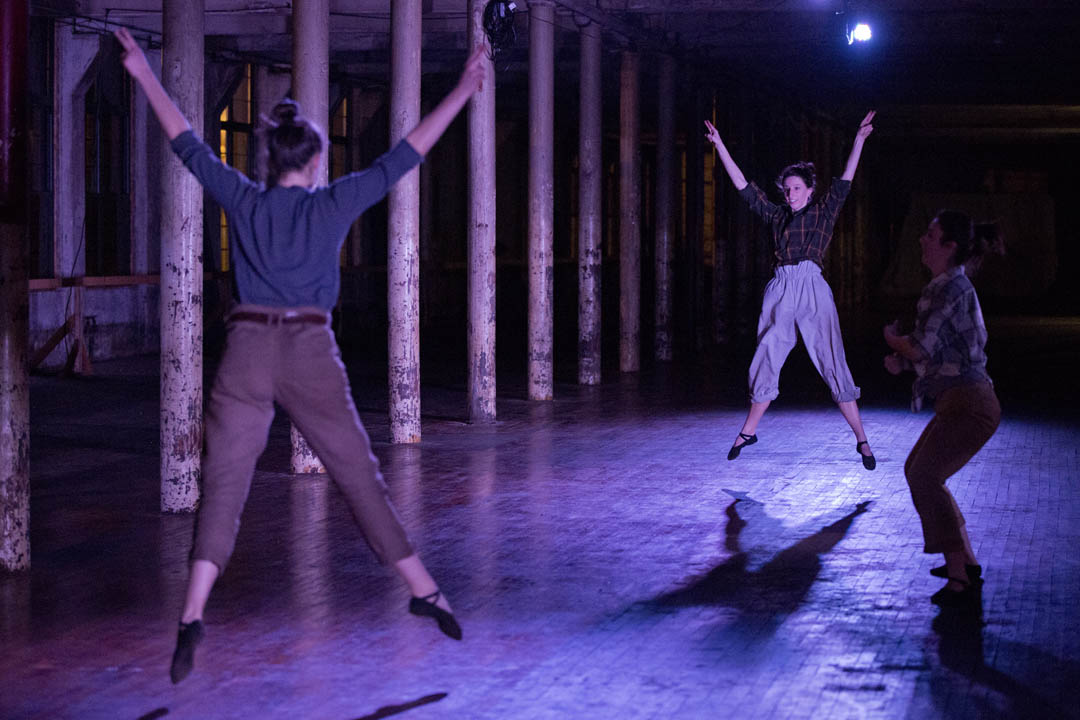 """359°"" by Zöe Fahy '13 is the product of a semester-long thesis in site-specific performance research in the Department of Dance. The 20-minute long piece, performed in the Bates Mill, was followed by a question-answer session. (Phyllis Graber Jensen/Bates College)"