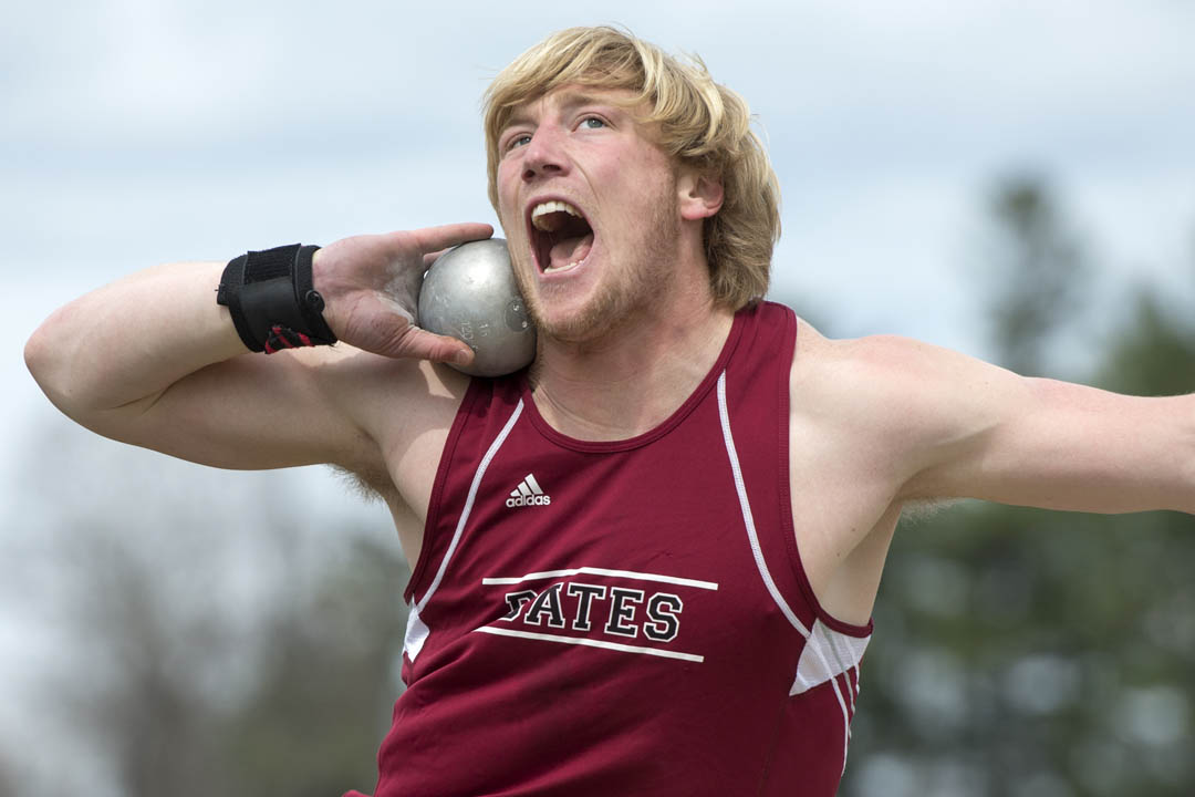 David Pless won his second Sabasteanski Award as the Most Outstanding Male Performer at the NESCAC Track & Field Championships. (Mike Bradley/Bates College)