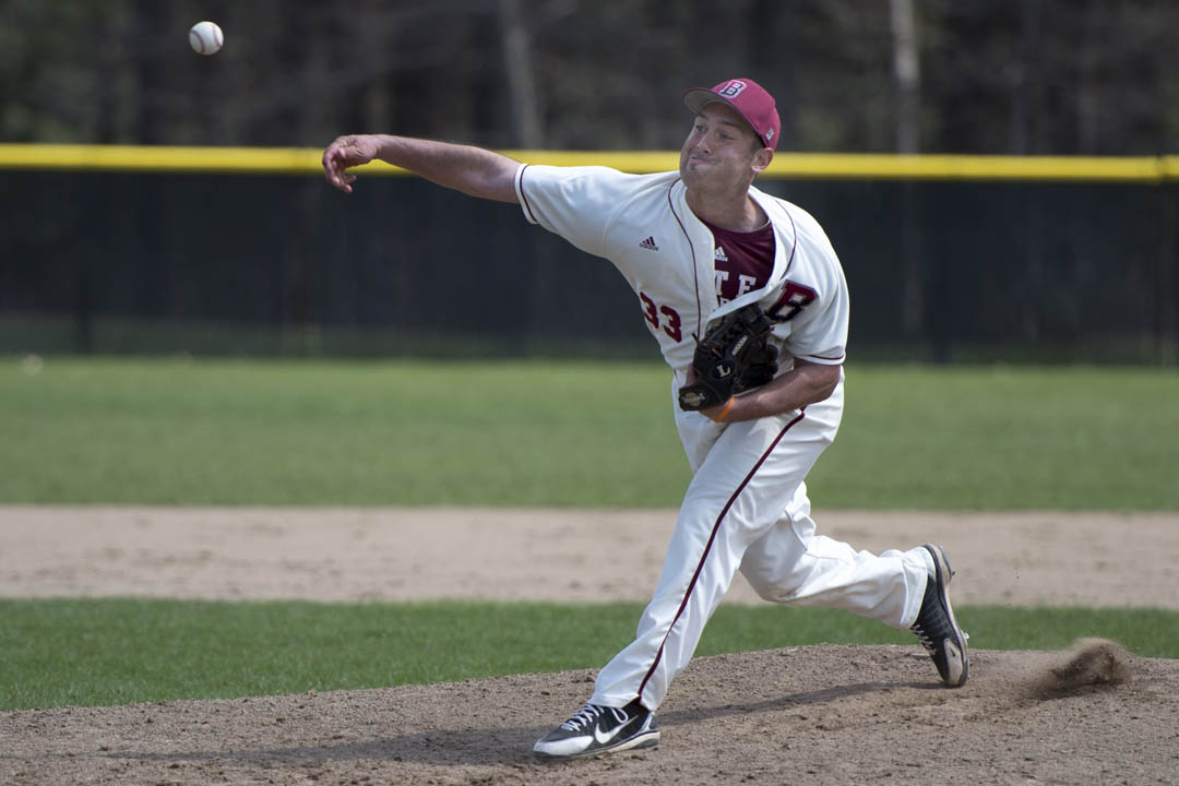 Mike Antonellis '13 delivers a pitch during a 5-3 win over Colby. (Mike Bradley/Bates College)