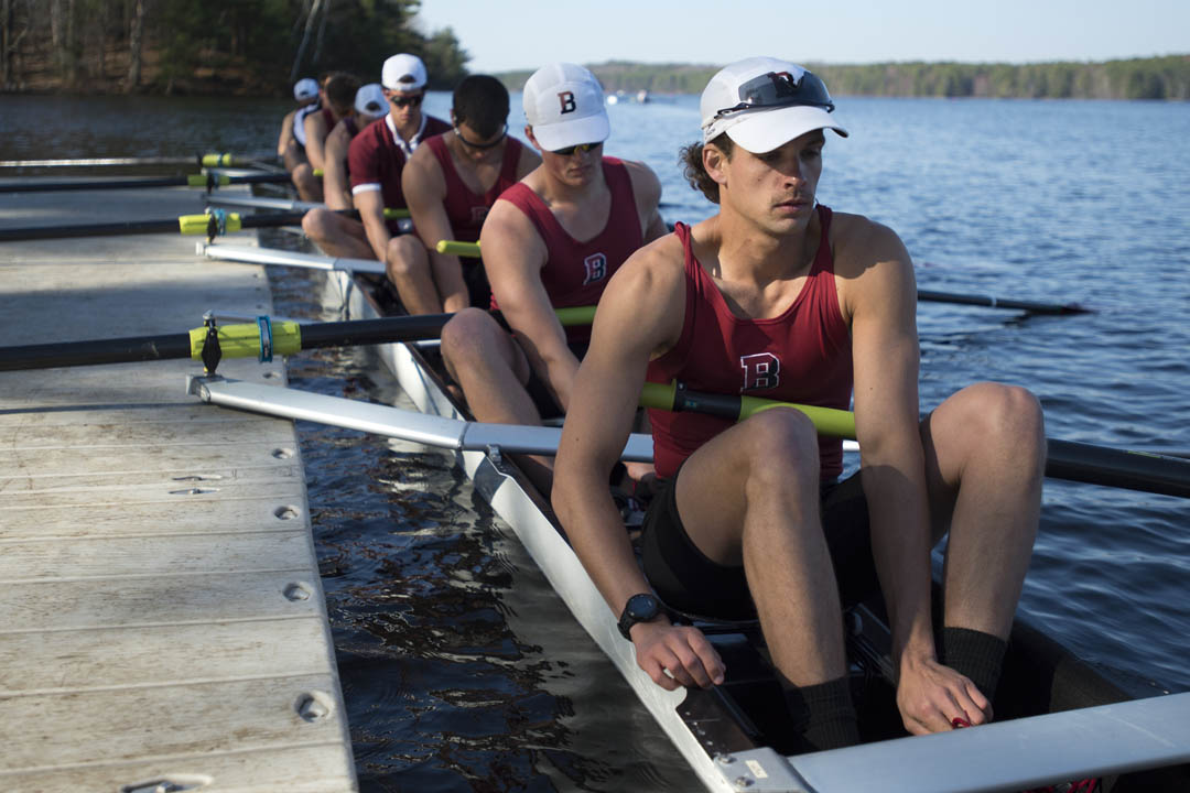 The Bates men's rowing team won three out of four races, including both varsity eight showdowns, in the 15th Thomas Hedley Reynolds President's Cup regatta, hosted at the Bates Boathouse on the Androscoggin River. (Mike Bradley/Bates College)