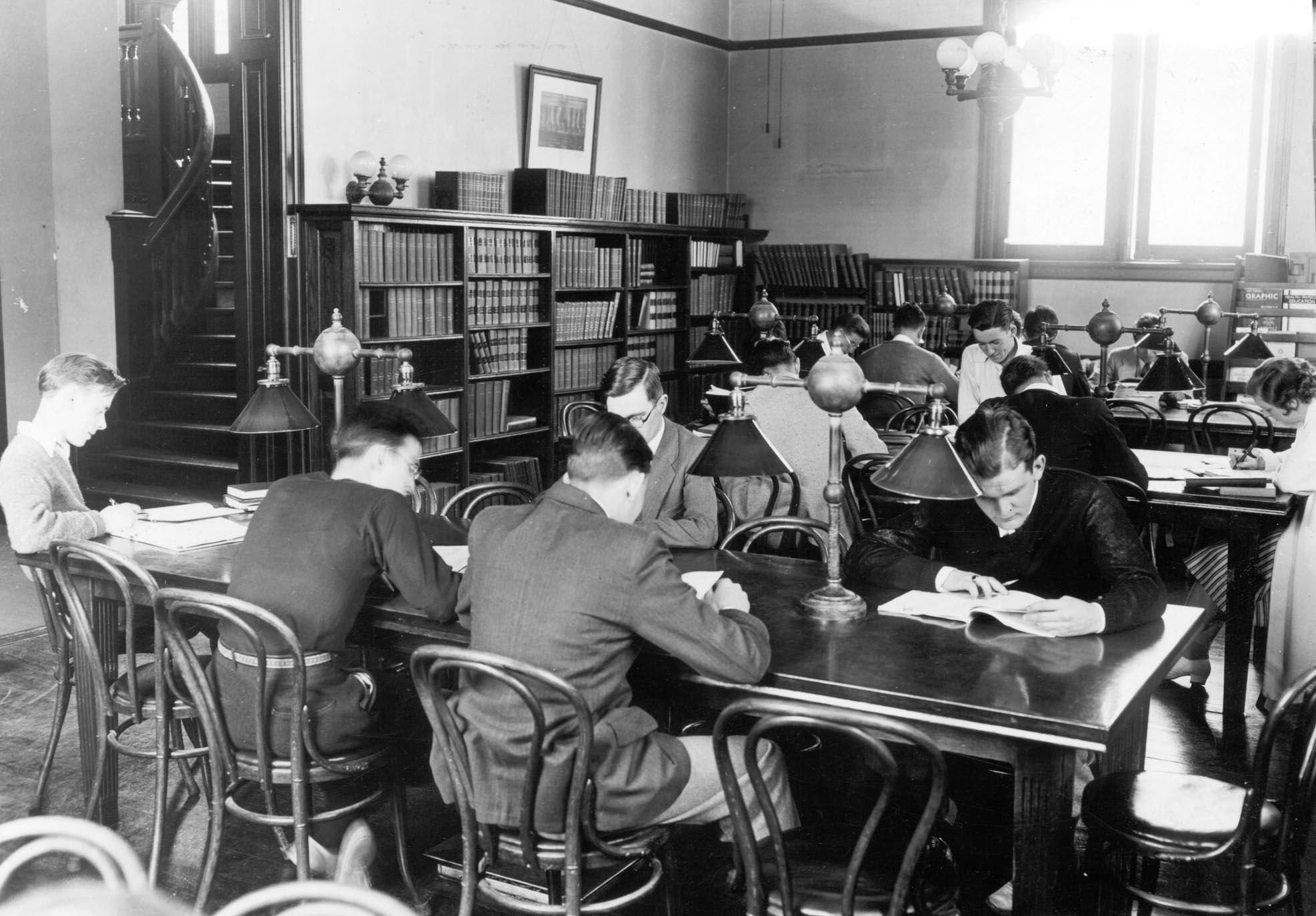 A study scene in Coram Library, circa 1930. Debuting in 1929-30, the first Bates alumni fund raised gifts for the library, student activities and career development.