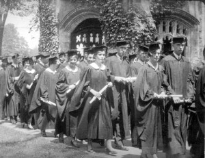 Graduates leave the Chapel after Commencement 1930, the first year of the Bates Fund, whose goal that year included career development for graduates. Photograph courtesy of Muskie Archives and Special Collections Library.