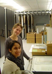 Seniors Nell Wachsberger, standing, and Cara Garcia-Bou worked as curatorial interns at the Bates art museum.