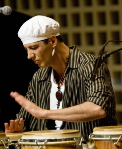 Composer-percussionist Shamou performs in the 2009 Bates Dance Festival Musicians' Concert. Photograph by Phyllis Graber Jensen/Bates College.