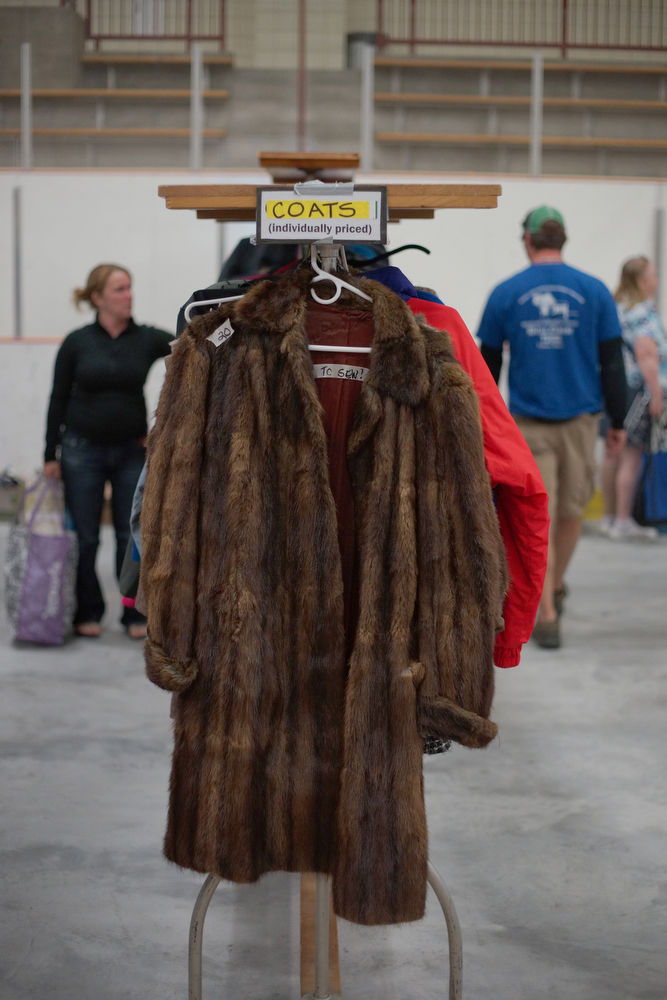 Coats for sale. Photograph by Vasu Leeaphon/Bates College.