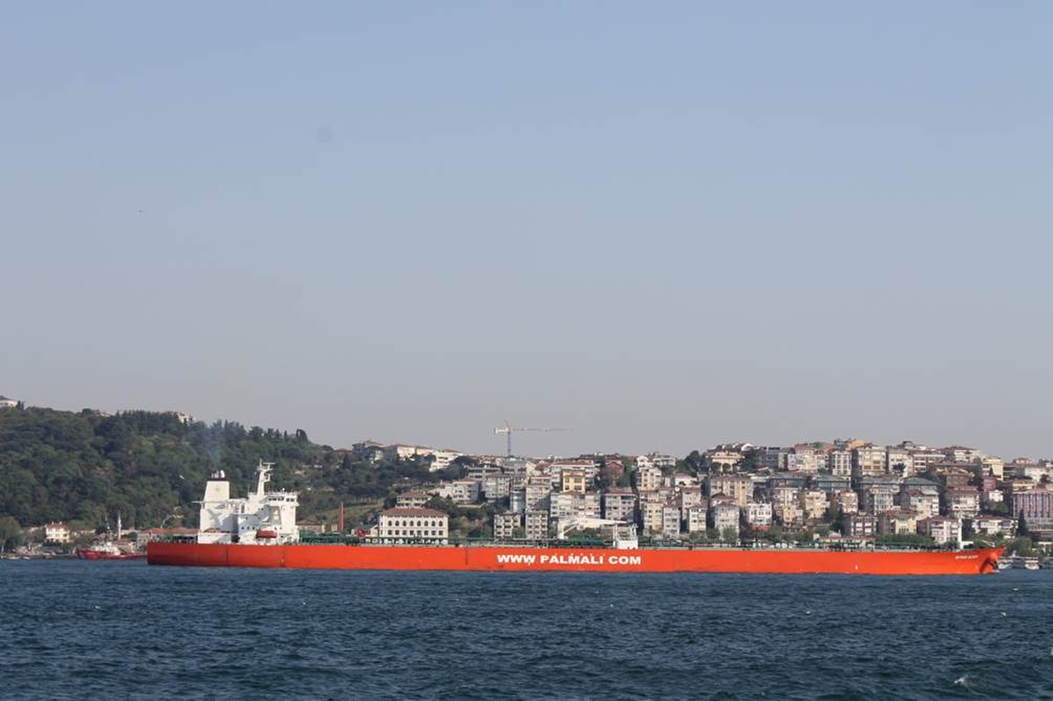 An oil tanker on the Bosphorous. The strait is extremely busy since it is the access point for ships that bring goods to Istanbul. Private boats are not allowed on the strait. I saw this ship as a symbol of Turkey's growth because the tanker brings oil, a key resource in a rapidly expanding economy. Phillip Dube '16/Bates College.