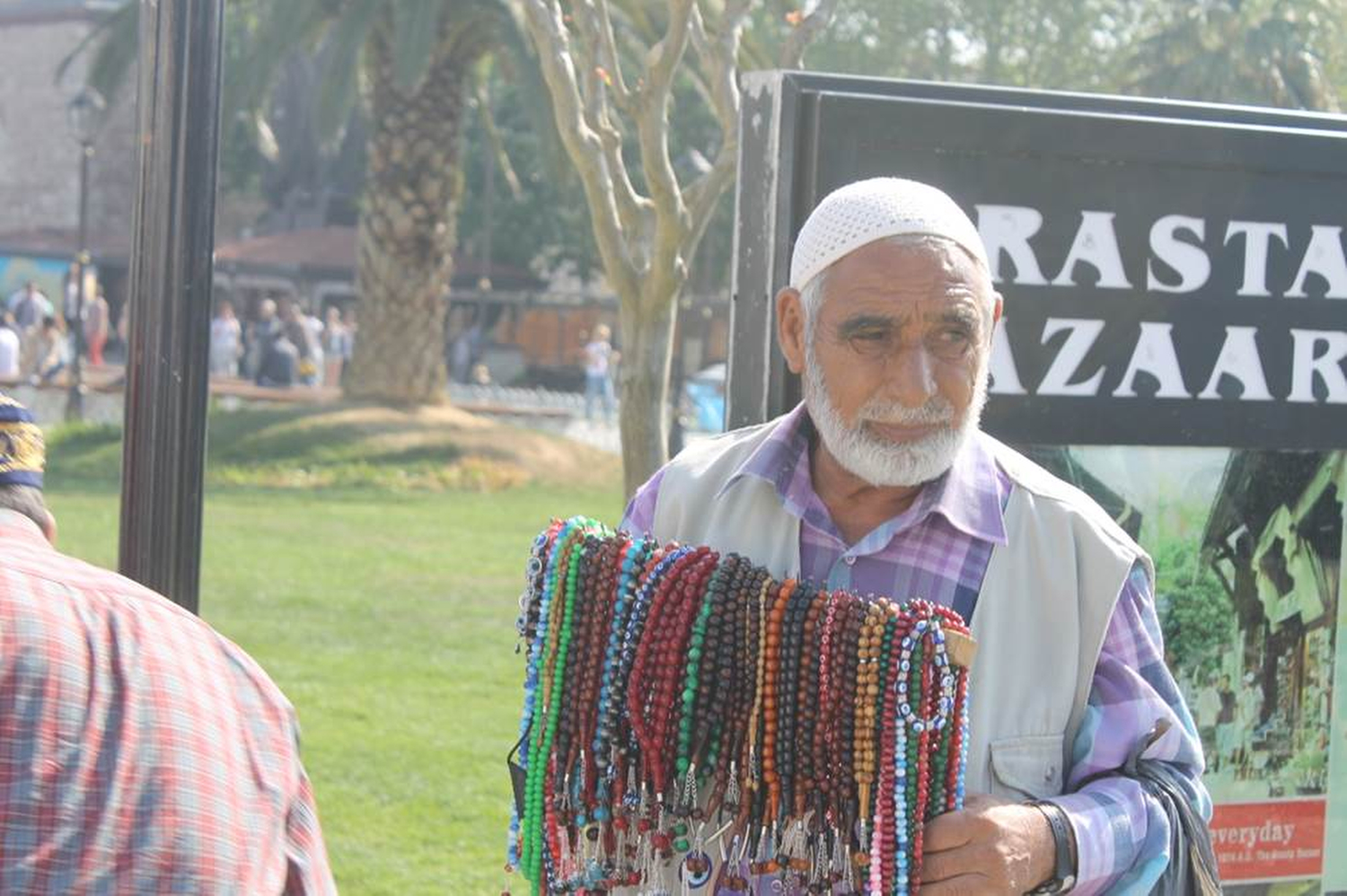 At first I thought this man was selling jewelry, only to be told that the beads are prayer tools.  The beads are similar to the Roman Catholic rosary . The colorful beads are used to count the repetitions of prayers or devotions. Muslims in Turkey are usually seen with them in public spaces. Phillip Dube '16/Bates College.