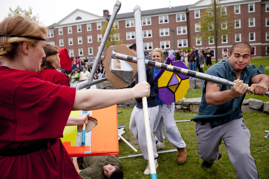 "It's the Battle of Maldon 2013, Vikings vs. Anglo Saxons, waged on the shores of Lake Andrews. Students from Sylvia Federico's ST14 ""Medieval Re-enactment"" have created weapons, garb, and choreography based on their reading of a tenth-century Old English poem. (Phyllis Graber Jensen/Bates College)"