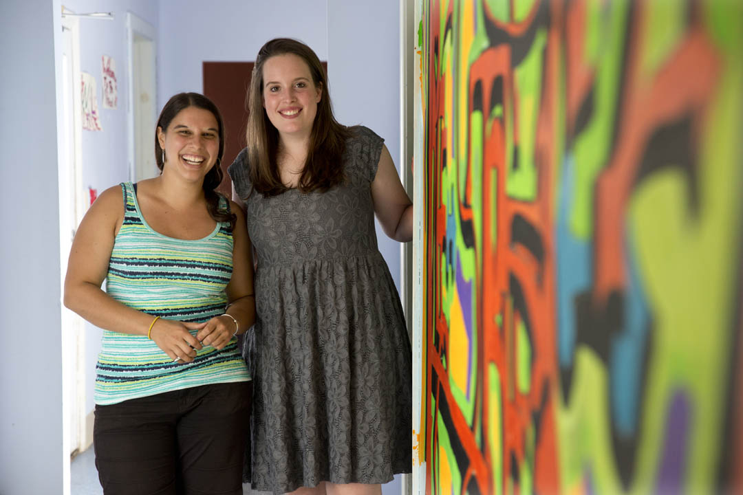 From left, Julia Sleeper ''08 and Kim Sullivan '13 are co-founders of Tree Street Youth Center in Lewiston that kicked off its summer camp program on July 1. (Phyllis Graber Jensen/Bates College)