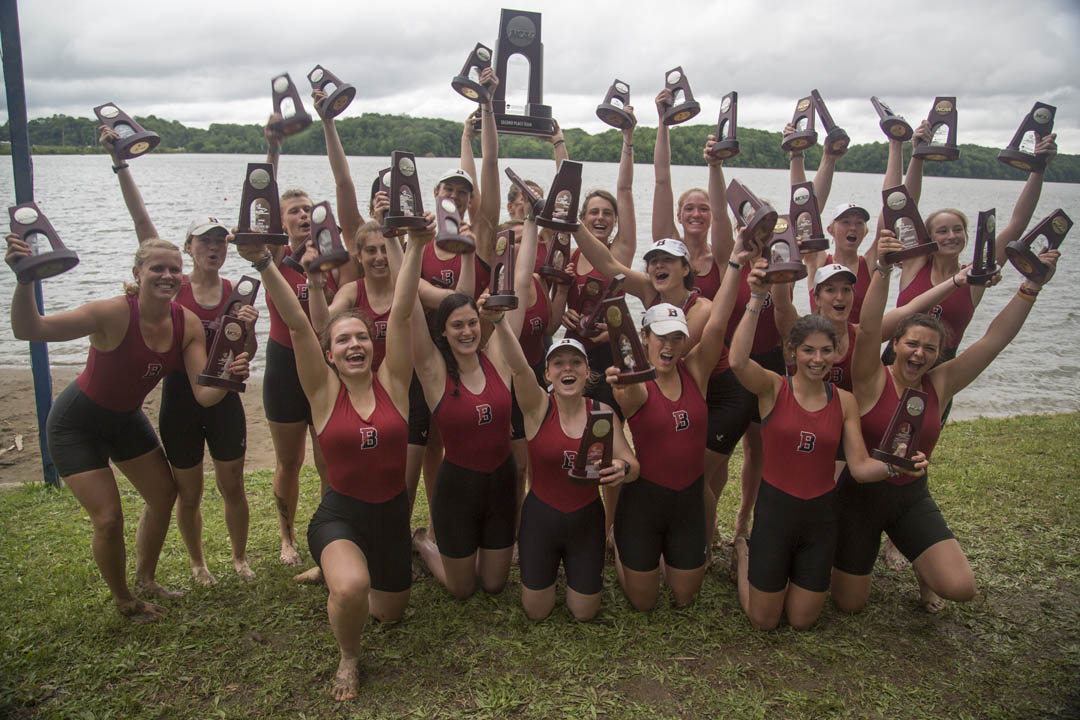 Bates women celebrate silver at the NCAA Women's Rowing Championships in Indianapolis on June 1, 2013. Photograph by Mike Bradley/Bates College.