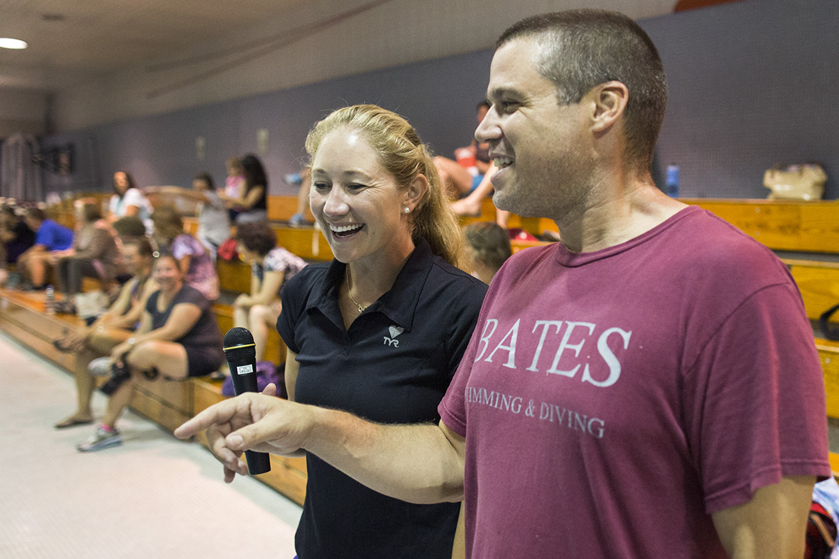 "Casares's (right) camps are designed to teach 8-17-year-olds the latest techniques and to inspire a love of the sport. ""Swimming requires an incredible amount of physical and mental energy,"" he said. ""It also builds character and challenges kids to push themselves."" (Mike Bradley/Bates College)"