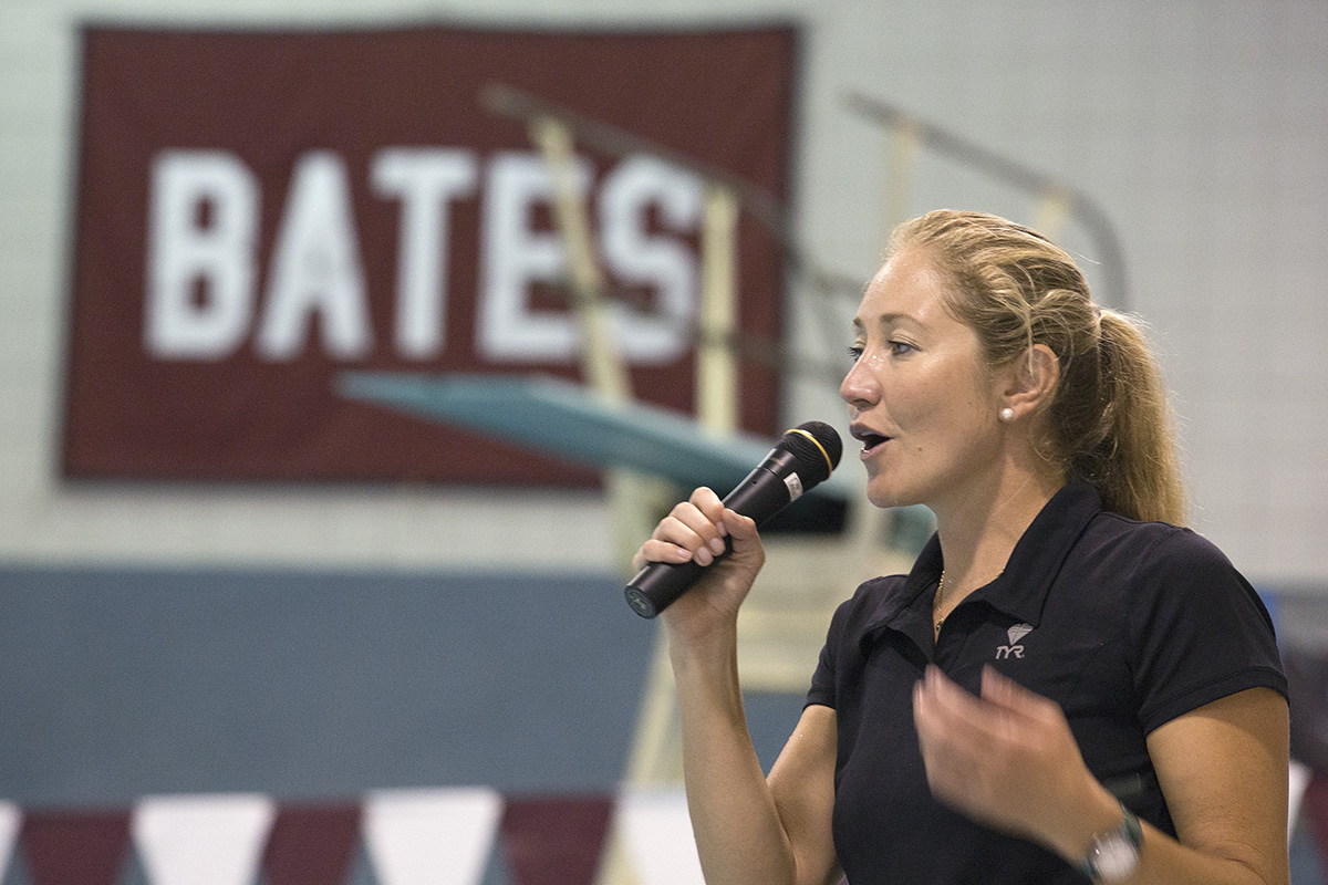 Misty Hyman, 2000 Olympic gold medalist in the 200 butterfly, delivered a lecture, led 80 kids through drills and progressions, and signed autographs. (Mike Bradley/Bates College)