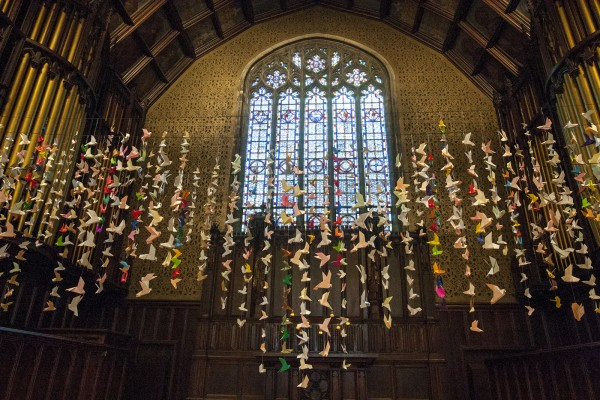 Decorations in the Peter J. Gomes Chapel at Troy Pappas'16's memorial service. Photograph by Phyllis Greber Jensen/Bates College