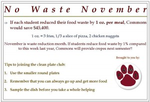 A napkin-holder card from the PAWS campaign against wasting food.