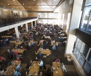 "Opened in 2008, Bates College's Commons building exemplifies Bates Dining's commitment to sustainability. Among its many other ""green"" features, it makes good use of natural light to save on electricity. Photograph by Phyllis Graber Jensen/Bates College."