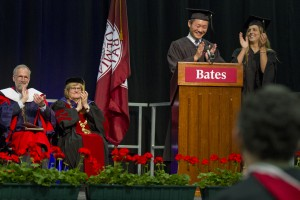 XX and XX present the Senior Class Gift to President Clayton Spencer at Bates' XXXth Commencement. With 92 percent participation, the Class of 2013 beat the previous participation record held by their immediate predecessors, the Class of 2012.