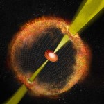 Seen here is an artist's conception of an unusual kind of supernova that Soderberg has explored. Known as an engine-driven supernova, it emits low-energy radio waves rather than high-energy gamma rays. Illustration by Bill Saxton.