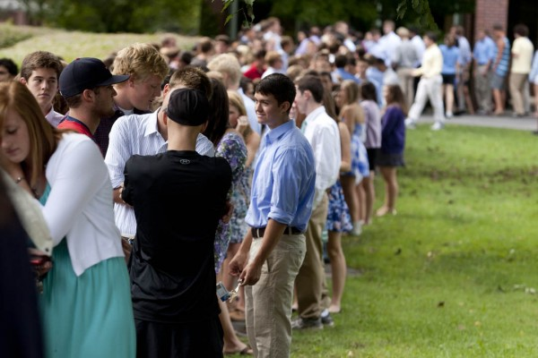 Students in line for last year's Convocation procession, part of the opening of each school year. The Class of 2017 will participate in that tradition on Sept. 3. Bates College/Phyllis Graber Jensen