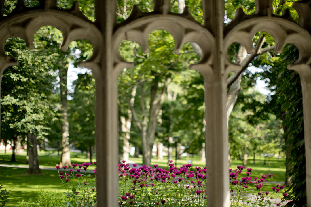 The historic Quad, as seen from the entrance to the Peter J. Gomes Chapel. (Phyllis Graber Jensen/Bates College)