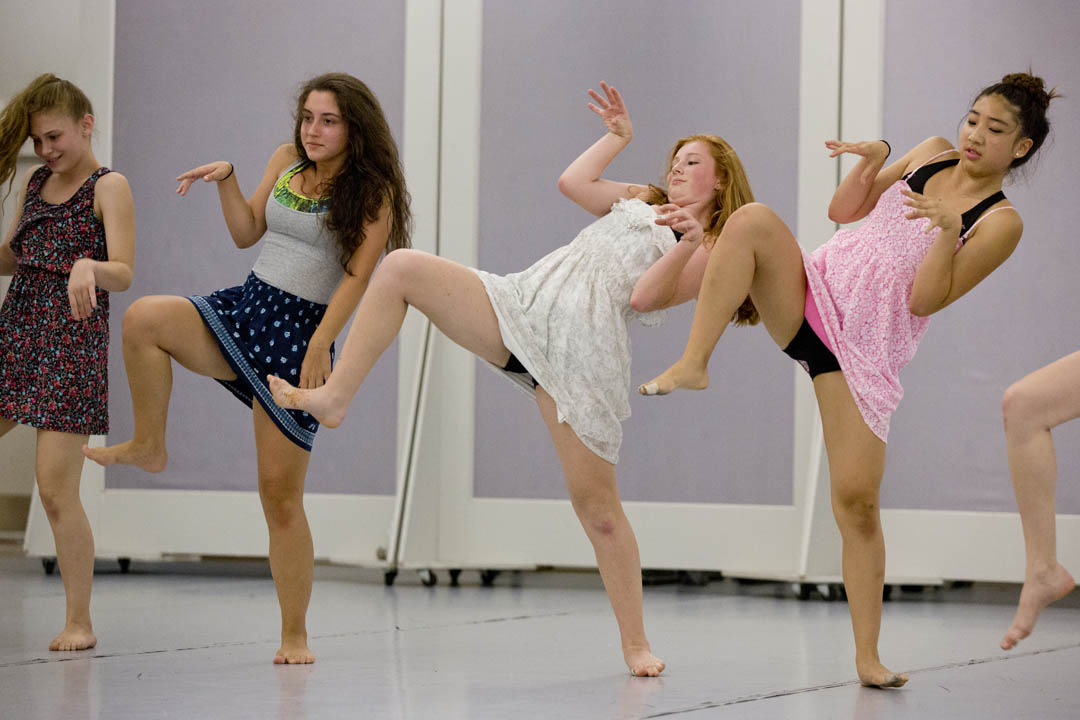 Participants in the Bates Dance Festival's Young Dancers Workshop give a preview of their final performances in the Marcy Plavin Dance Studios in Merrill Gymnasium. (Phyllis Graber Jensen/Bates College)