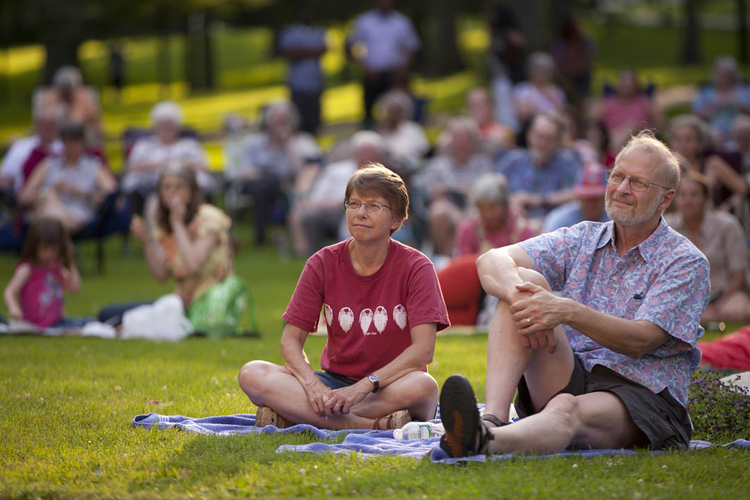 Audience members relax on the historic Quad for a performance by blues musician Corey Harris '91 during the season's first Concerts on the Quad. (Phyllis Graber Jensen/Bates College)