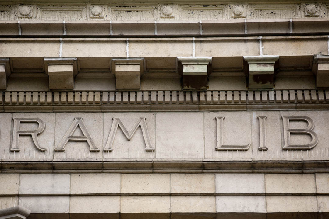 A detail from the facade of Coram Library, home of the Imaging and Computing Center. The building was designed by New York architect Henry Herts who, with his partner Hugh Tallant, also designed several Broadway theaters around Times Square between 1900 and 1910. (Phyllis Graber Jensen/Bates College)