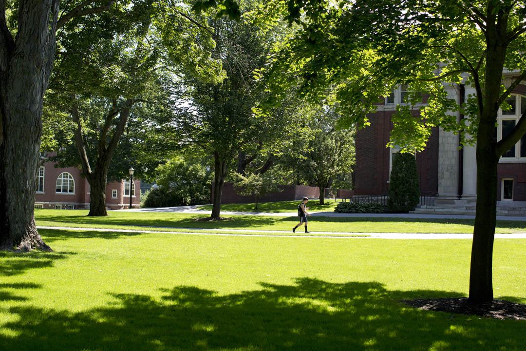 Summer shadows add an accent to the expansive historic Quad. (Phyllis Graber Jensen/Bates College)