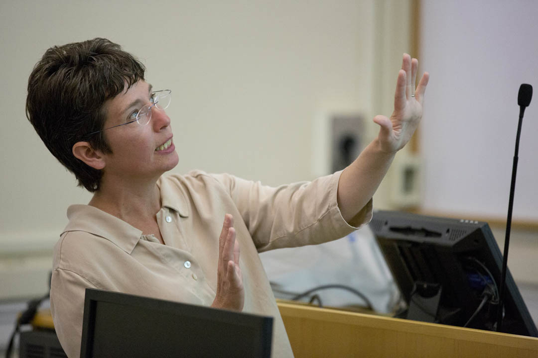 Professor of Chemistry Rachel N. Austin speaks during a public discussion of lead contamination data collected by the Summer Scholars. (Mike Bradley/Bates College)
