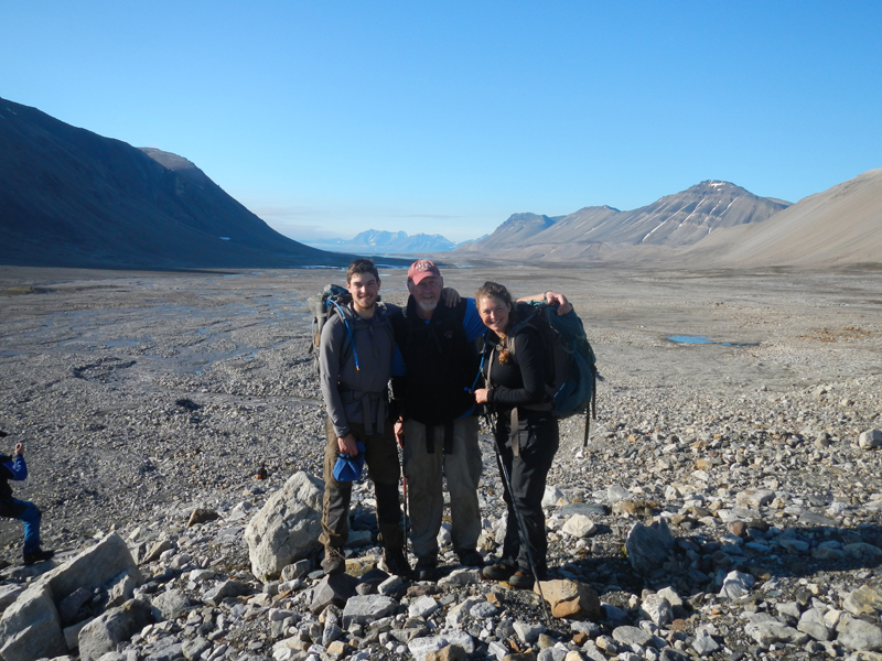 Alexandra Balter '14, right, poses at a field site in Svalbard, Norway, with adviser and Professor of Geology Mike Retelle, center. Joining them in Svalbard is Greg de Wet '11, left, who is current pursuing his master's at the University of Massachusetts, Amherst. Photograph provided by Greg de Wet '11.