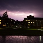 Photograph of lightning over the Bates campus