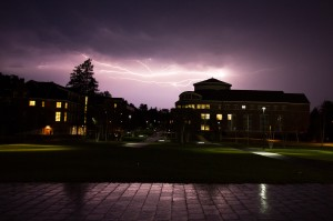 Lightning from an approaching thunderstorm illuminates buildings on the Bates campus on Sept. 11, 2013. (Mike Bradley/Bates College)