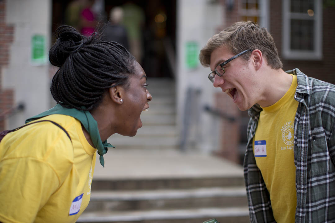 "On the morning of AESOP registration,  ""Maine Coastal Chillin' 1"" leaders Milly Aroko of Salem, Mass., and Josh Arenstam of New Orleans practice some of the ice-breaking exercises they will use with members of the Class of 2017 later in the day. (Phyllis Graber Jensen/Bates College)"