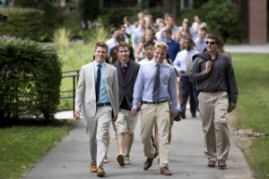 Members of the Class of 2017 walk to the the annual Convocation, the formal opening of the school year. (Phyllis Graber Jensen/Bates College)