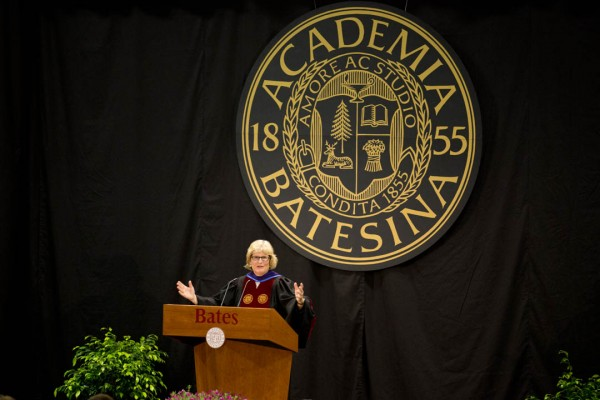 Bates President Clayton Spencer delivers her 2013 Convocation address in Alumni Gymnasium. (Michael Bradley/Bates College)