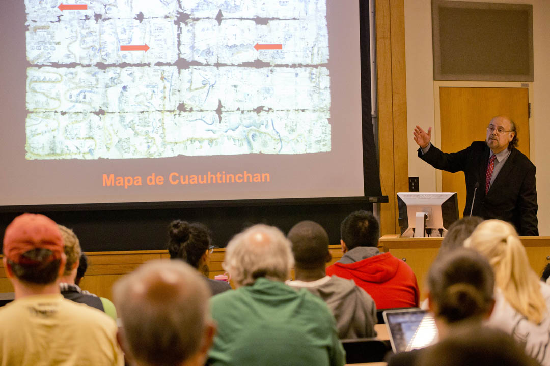Davíd Carrasco, a Mexican American historian of religions, offers the inaugural lecture in Bates College's Latin American studies program in the Keck Classroom of Pettengill Hall. (Phyllis Graber Jensen/Bates College)