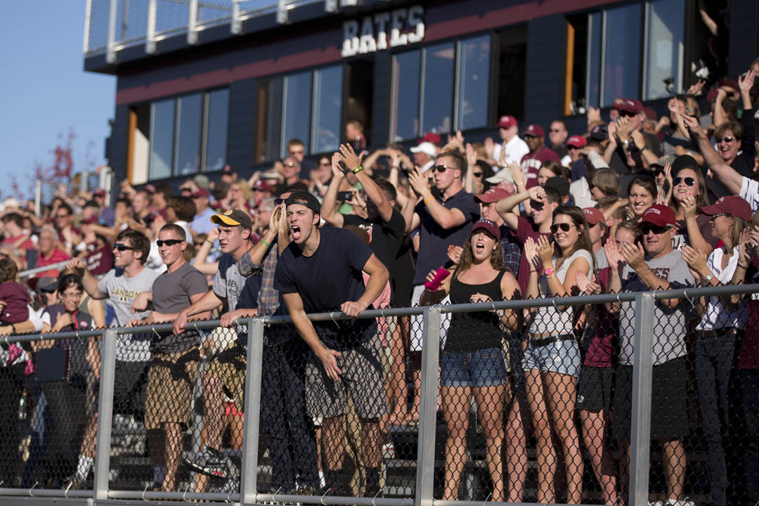 Bates fans erupt as Bates defeats Tufts 20-16 in the fourth quarter. (Phyllis Graber Jensen/Bates College)